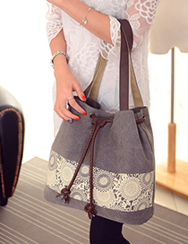 Fashion Gray Tassel Pendant Decorated Simple Shoulder Bag