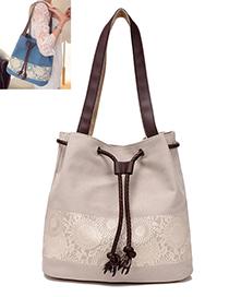 Fashion Beige Tassel Pendant Decorated Simple Shoulder Bag