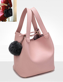 Fashion Pink Fuzzy Ball Decorated Pure Color Shoulder Bag