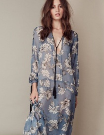 Fashion Blue Flower Pattern Decorated V Neckline Long Dress