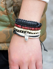 Fashion Multi-color Feather Decorated Multi-layer Simple Bracelet(4pcs)