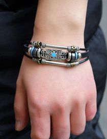 Fashion Black Flower Pattern Decorated Multi-layer Simple Bracelet
