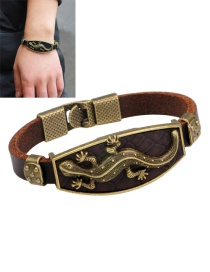Fashion Brown Gecko Pattern Decorated Simple Bracelet
