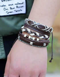 Fashion Brown Beads Decorated Color Matching Bracelet(3pcs)