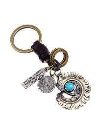 Fashion Bronze Feather Pendant Decorates Simple Key Chain