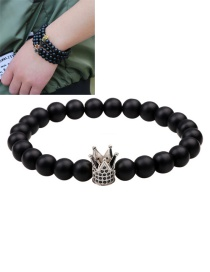 Fashion Silver Color Crown&beads Decorated Pure Color Bracelet