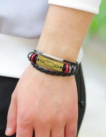 Fashion Gold Color Letter Pattern Decorated Weave Multi-layer Bracelet