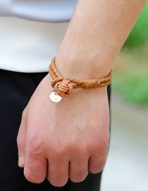 Fashion Coffee Wafer Decorated Weave Pure Color Bracelet