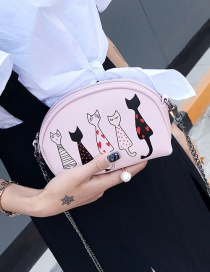 Fashion Pink Embroidery Cat Decorated Pure Color Shoulder Bag