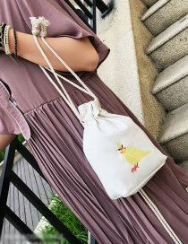 Fashion White Embroidery Bird Decorated Pure Color Storage Bag