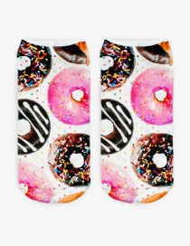 Fashion Multi-color Printing Donuts Pattern Decorated Color Matching Sock