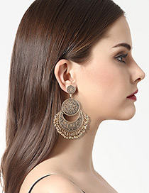 Fashion Antique Gold Round Shape Decorated Pure Color Earrings