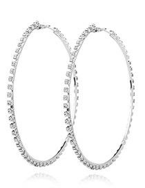 Fashion Silver Color Full Diamond Decorated Pure Color Earrings