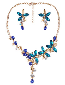 Fashion Blue Flowers Decorated Simple Jewelry Sets