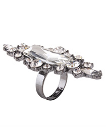 Fashion Silver Color Geometric Shape Diamond Decorated Simple Ring