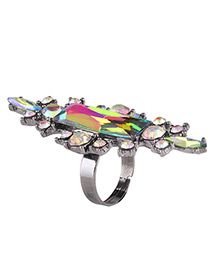 Fashion Multi-color Geometric Shape Diamond Decorated Simple Ring
