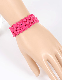 Fashion Plum Red Pure Color Decorated Hand-woven Bracelet