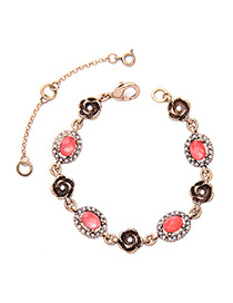 Fashion Pink Flower Decorated Color Matching Bracelet