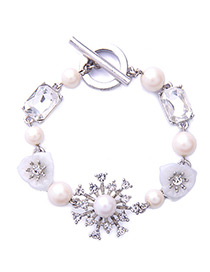 Fashion White Snowflake Decorated Pure Color Bracelet