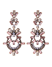 Fashion Pink Diamond Decorated Hollow Out Long Earrings