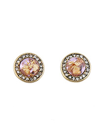 Fashion Purple Round Shape Gemstone Decorated Simple Earrings