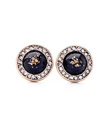 Fashion Black Round Shape Gemstone Decorated Simple Earrings