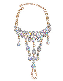 Fashion Multi-color Water Drop Shape Diamond Decorated Anklet
