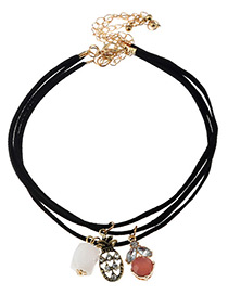 Fashion Black Banana&diamond Decorated Simple Choker (3pcs)