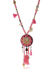 Trendy Pink Tassel&shell Pendant Decorated Simple Necklace
