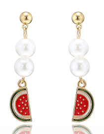 Personalized Watermelon Red Watermelon&pearls Pendant Decorated Long Earrings