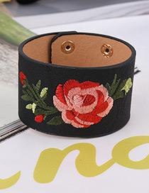 Fashion Black Embroidery Flower Decorated Width Bracelet