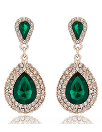Fashion Green Water Drop Shape Diamond Decorated Simple Earrings