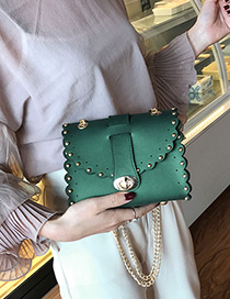 Trendy Green Rivet Decorated Pure Color Mini Shoulder Bag