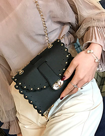 Trendy Black Rivet Decorated Pure Color Mini Shoulder Bag