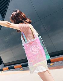 Trendy Multi-color Cartoon Pattern Decorated Square Shape Reflective Shoulder Bag