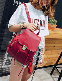 Fashion Red Buckle Decorated Pure Color Backpack