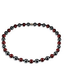 Fashion Black Bead Decorated Color Matching Simple Necklace
