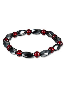 Fashion Red+black Bead Deccorated Color Matching Simple Bracelet