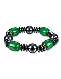 Fashion Green+black Bead Deccorated Color Matching Simple Bracelet