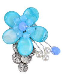 Fashion Blue Flower Shape Decorated Pure Color Simple Brooch