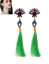 Fashion Green Diamond&tassel Decorated Simple Earrings
