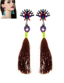 Fashion Brown Diamond&tassel Decorated Simple Earrings