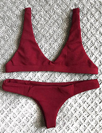 Sexy Claret Red Pure Color Decorated Simple Swimsuit