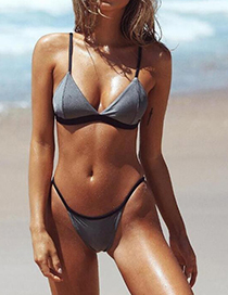 Sexy Gray Pure Color Decorated Simple Swimsuit