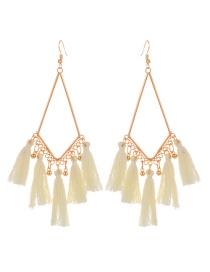Fashion Beige Tassel Pendant Decorated Simple Earrings