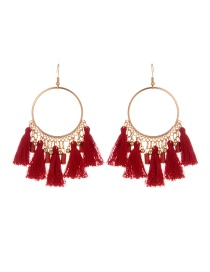 Fashion Claret Red Tassel Decorated Round Shape Design Earrings