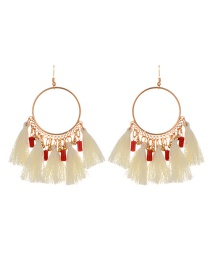 Fashion Beige Tassel Decorated Round Shape Design Earrings
