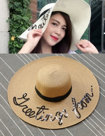 Trendy Coffee Letter Pattern Decorated Pure Color Sun Hat