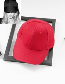 Fashion Red Pure Color Decorated Simple Baseball Cap