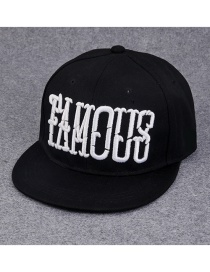 Fashion Black Letter Pattern Decorated Pure Color Hip-hop Cap